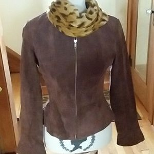 SHAPE FX Suede leather zip up jacket size 6